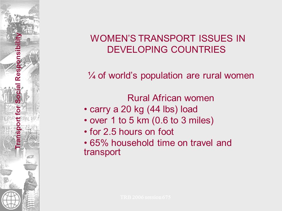 Transport for Social Responsibility TRB 2006 session 675 WOMENS TRANSPORT ISSUES IN DEVELOPING COUNTRIES Transport firewood © 2005 Mika Kunieda