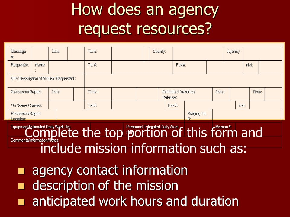 How does an agency request resources.