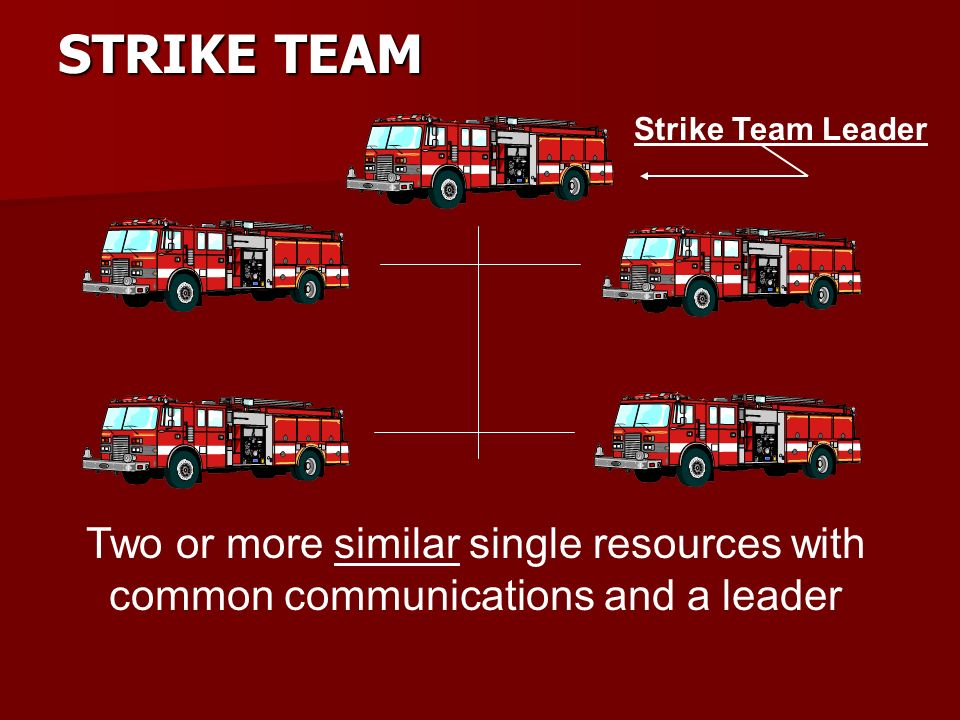 TASK FORCE Two or more dissimilar single resources with common communications and a leader Task Force Leader