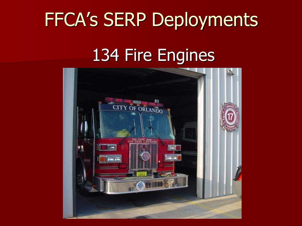 FFCAs SERP Deployments 136 Fire/ALS Rescues 136 Fire/ALS Rescues 23 Water Tenders 23 Water Tenders 26 Assorted Vehicles 26 Assorted Vehicles 17 MAC Units 17 MAC Units