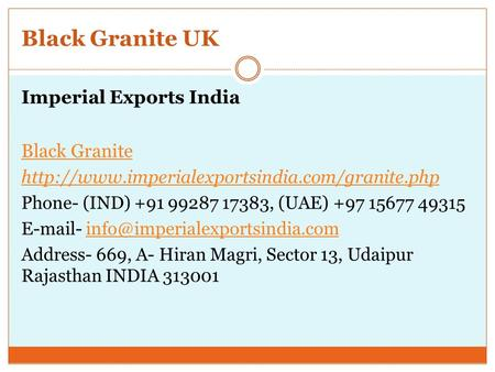 Black Granite UK Imperial Exports India Black Granite