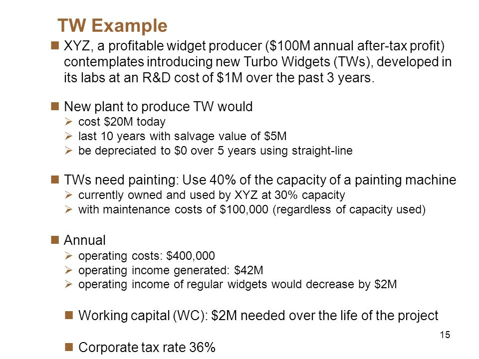 16 TW Example (cont.) Ignore the $100M after-tax profit and focus on incremental cash- flows R&D cost of $1M over the past three years: Sunk cost ==> Ignore it The plants $20M cost: Its a CAPX ==> Count it Machines $100K maintenance cost: Not incremental ==> Ignore it Incurred with or without TW production True even if accounting charges TW production a fraction of these Op.