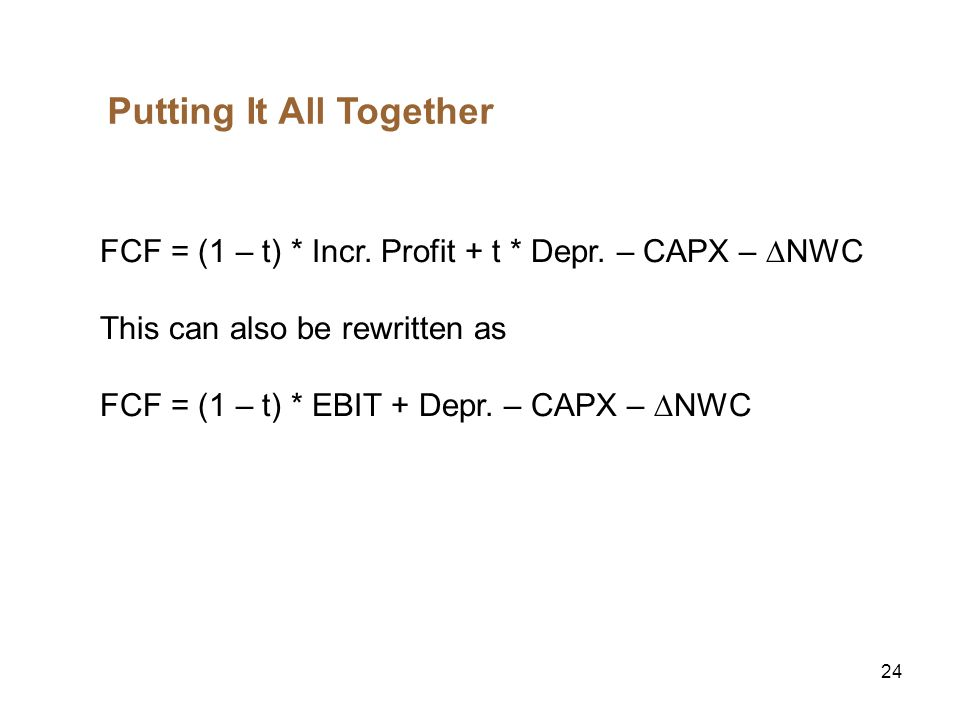 25 Finding the Value of the Cash Flows Decision Rule Accept any project with positive NPV.