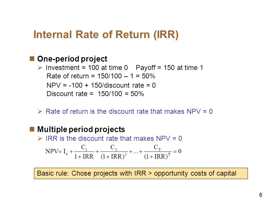 7 Internal Rate of Return (IRR), cont.