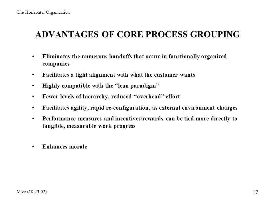 The Horizontal Organization Mize (10-23-02) 18 HORIZONTAL (PROCESS-ORIENTED) ORGANIZATIONS Question: Do they really work.