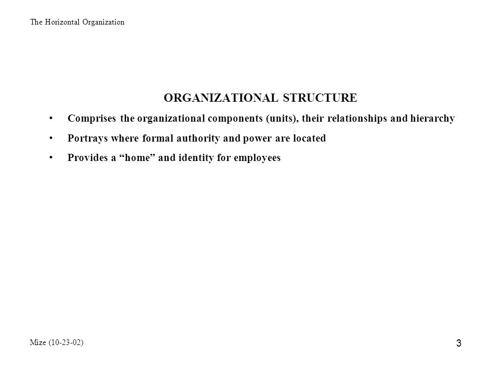 The Horizontal Organization Mize (10-23-02) 4 FUNDAMENTAL QUESTIONS REGARDING ORGANIZATIONAL STRUCTURE Who goes where.
