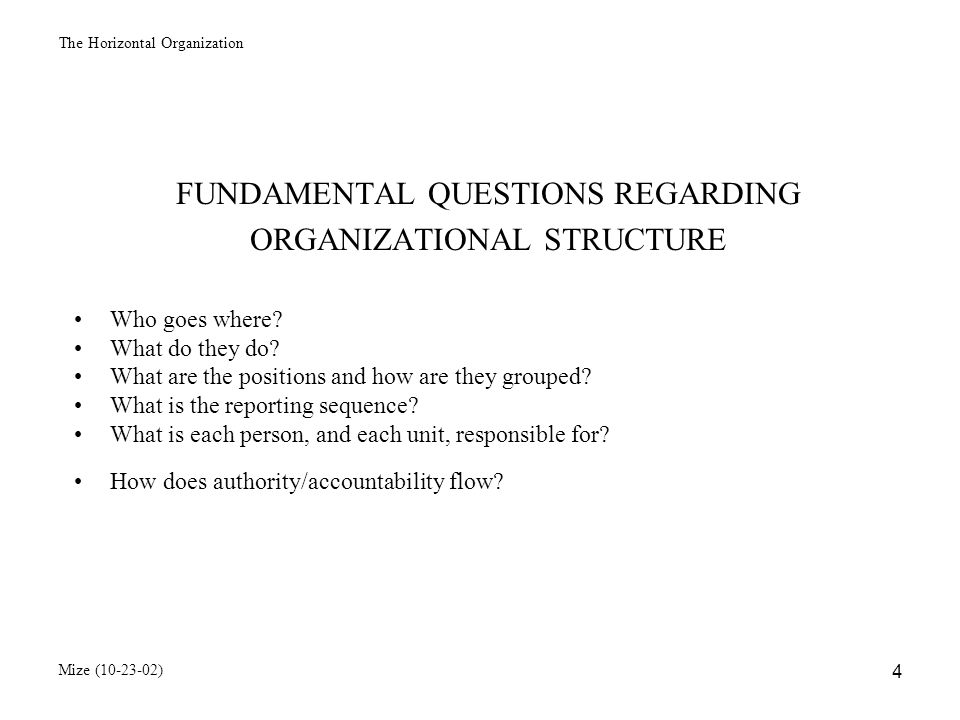 The Horizontal Organization Mize (10-23-02) 5 DEPARTMENTALIZATION Definition: The grouping of employees Bases for departmentalization by function or specialty by product line by customer/market segment by geographical area by work flow process combination