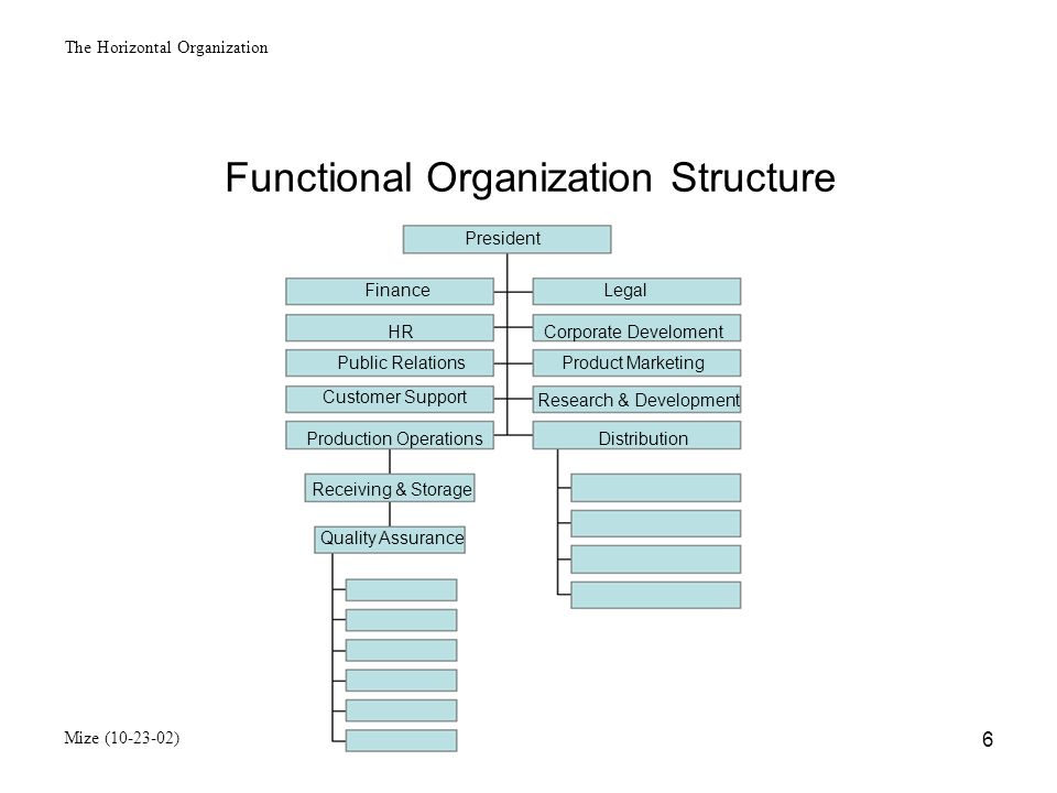 The Horizontal Organization Mize (10-23-02) 7 Product Oriented Organization Structure President FinanceHR Accounting Production Marketing CD CabinetsDisk Boxes