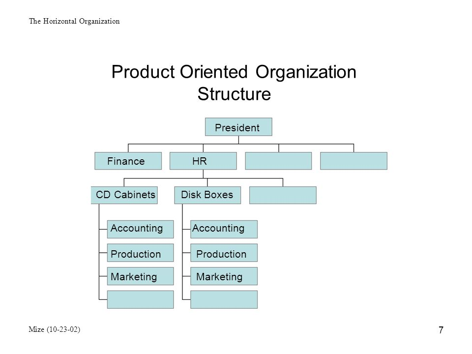 The Horizontal Organization Mize (10-23-02) 8 Geographic Oriented Organization Structure President Finance HR Accounting Production Marketing Western DivisionSoutheas DivisionInternational Europe South America Asia