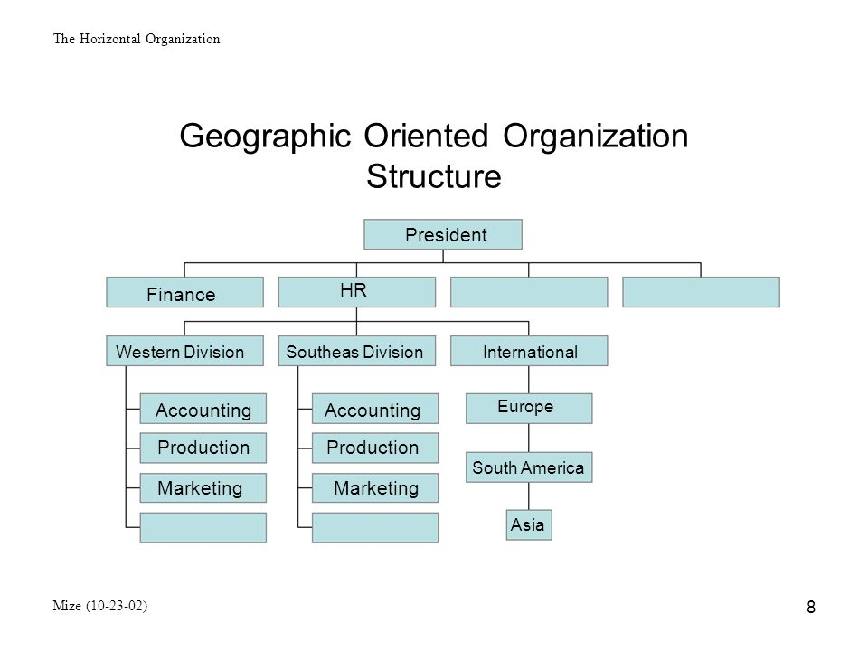 The Horizontal Organization Mize (10-23-02) 9 Process Organization Structure (Horizontal Organization) General Manageer New Product Development ProcessOrder Fullfillment ProcessCustomer Acquisition and Maintenance New Product Teams Product Teams Customer Teams