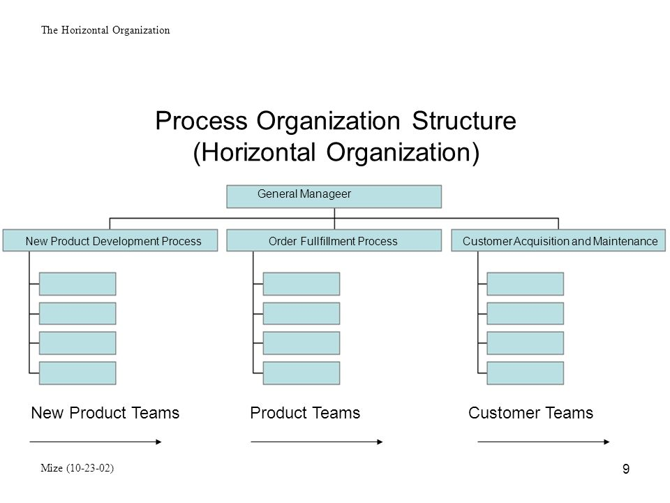 The Horizontal Organization Mize (10-23-02) 10 VERTICAL (FUNCTIONAL) ORGANIZATION MODEL Inherent Shortcomings Internal focus on functional goals rather than outward-looking concentration on winning customers and delivering value Loss of important information as transactions travel up and down the multiple levels and across the functional departments Fragmentation of performance objectives brought about by a multitude of distinct and fragmented goals Added expense involved in coordinating the overly fragmented work and departments Stifling of creativity and initiative of workers at lower levels Slow responsiveness to changes in the external environment and to customer issue