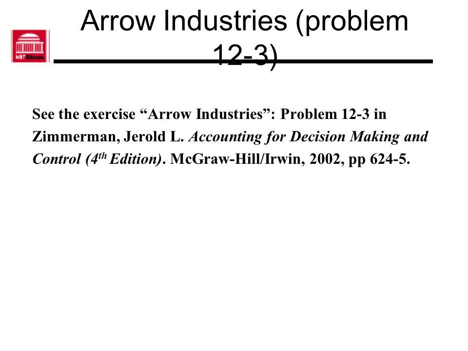 Howard Binding (Problem 12- 16) See the exercise Howard Binding: Problem 12-16 in Zimmerman, Jerold L.