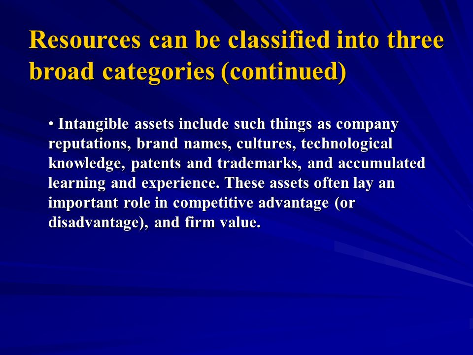 Resources can be classified into three broad categories (continued) Organizational capabilities are not factor inputs like Organizational capabilities are not factor inputs like tangible and intangible assets; they are complex combinations of assets people, and processes that organizations use to transform inputs into outputs.