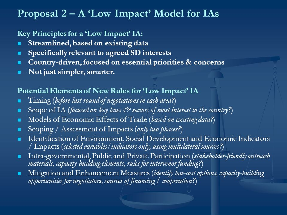 CISDLs R-SIA Research Agenda What rules could be useful for a low-impact IA process.