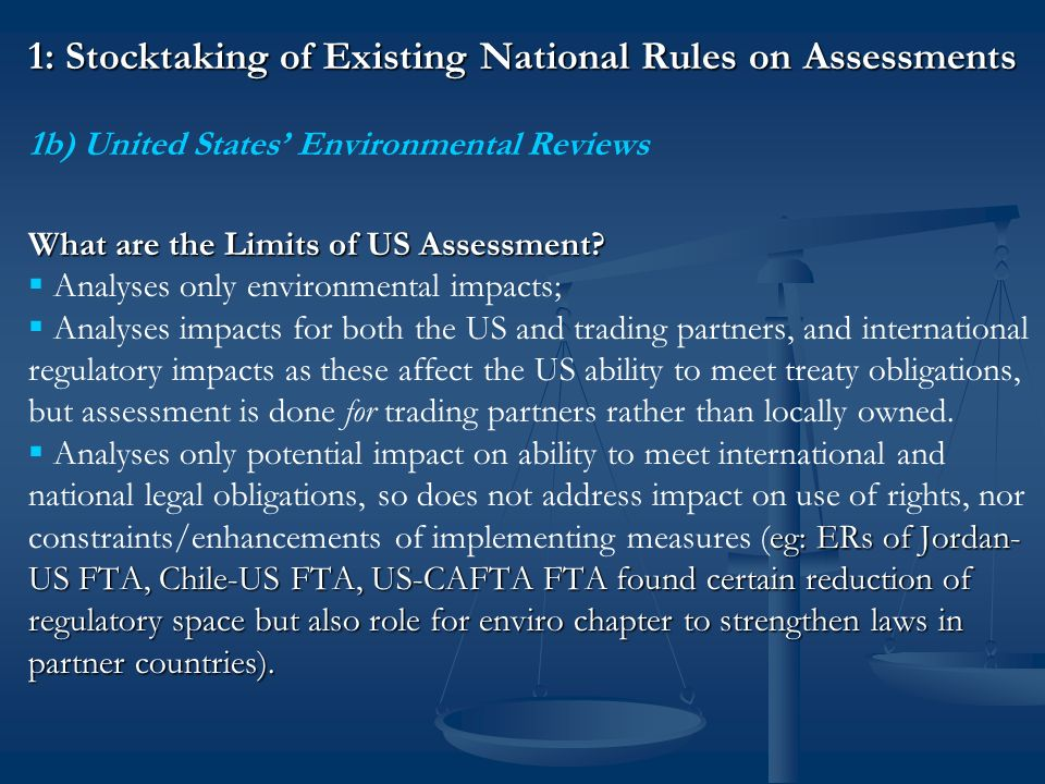 1: Stocktaking of Existing National Rules on Assessments 1c) What are the Limits of European Union SIAs.