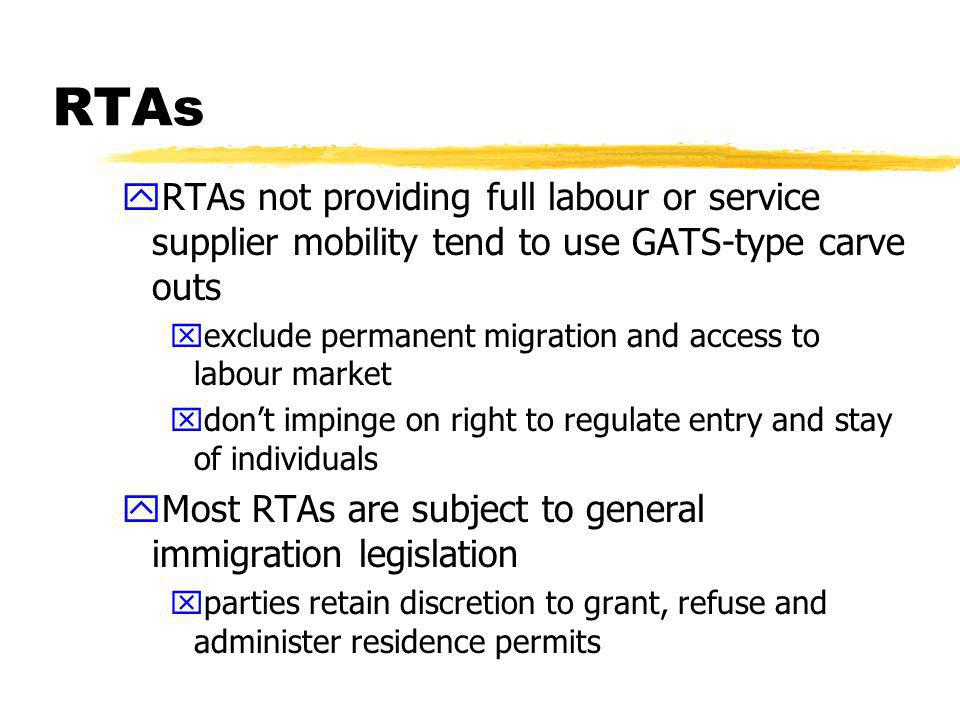 RTAs zSymbiotic relationship between RTAs and the GATS yNAFTA provided model for GATS yother RTAs use GATS model (e.g., EU- Mexico, US-Jordan) zRTAs also feed off each other yLatin American agreements; proposals in FTAA resemble NAFTA and EU-Mexico