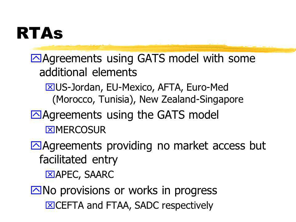 RTAs zAdditionally, some RTAs create special visa schemes or other types of managed entry xTrade NAFTA visas xAPEC Business Travel Card yExperience might be interesting for GATS xindicates that the more diverse the membership, more scope allowed for existing regimes xadministrative capacity a major issue