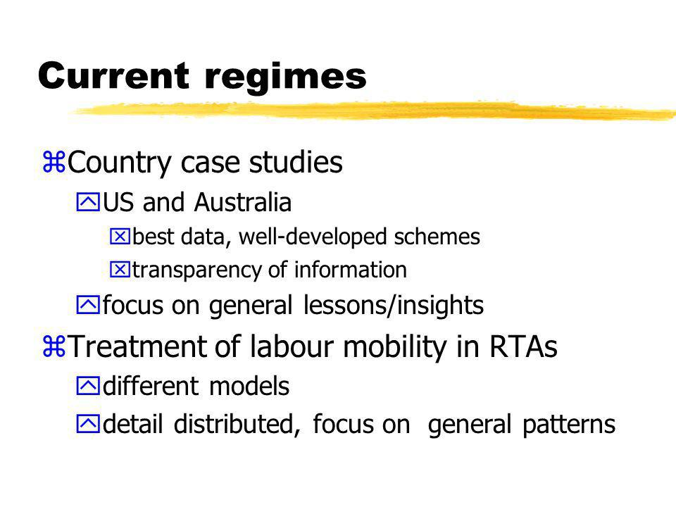 Country case studies zGATS schedules set out commitments BUT ymay not reflect current regime ydont mention visa categories zNeed to look at actual temporary entry systems operated by migration authorities ysense of scale of entry yterms, conditions and means of entry zBut this requires some mapping of mode 4 coverage….