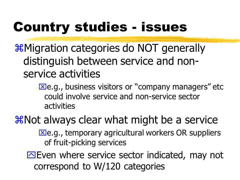 Country studies - issues zAlso not always clear the extent to which an activity is commercial xe.g., amateur and professional athletes zSome activities are also mixed modes xe.g., industrial/occupational trainees (mode 2 consumption or mode 4?) xexchange programs - students (mode 2) and lecturers (mode 4).