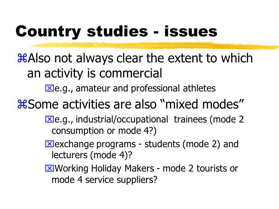 Country studies - issues zDefinition question yforeign workers working on contract for domestic companies vs as employees of domestic companies xlanguage of GATS vs members commitments yBut are issues xcan be difficult to know type of contract xnot a migration distinction xhave included them without prejudice to determination on this point