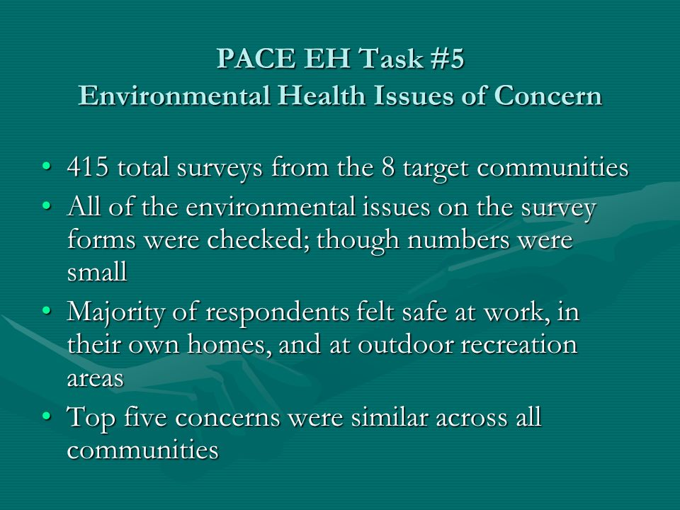 PACE EH Task #10 Top Five Concerns Safe Drinking WaterSafe Drinking Water Vector Control – MosquitoesVector Control – Mosquitoes Abandoned BuildingsAbandoned Buildings Septic SystemsSeptic Systems Waste ManagementWaste Management