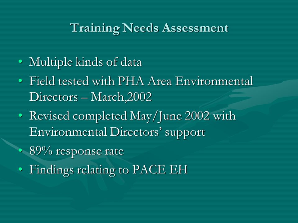 The assessment consisted of six sections: 1)Demographic information, 2)Experiences with the Ten Essential Services for Environmental Health, 3)Abilities in the Fourteen Core Competencies, 4)Experiences working with the community 5)Attitudes about environmental health work, 6)Training experiences and training needs.