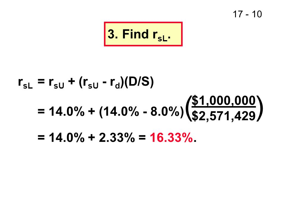 17 - 11 4.Proposition I implies WACC = r sU.Verify for L using WACC formula.