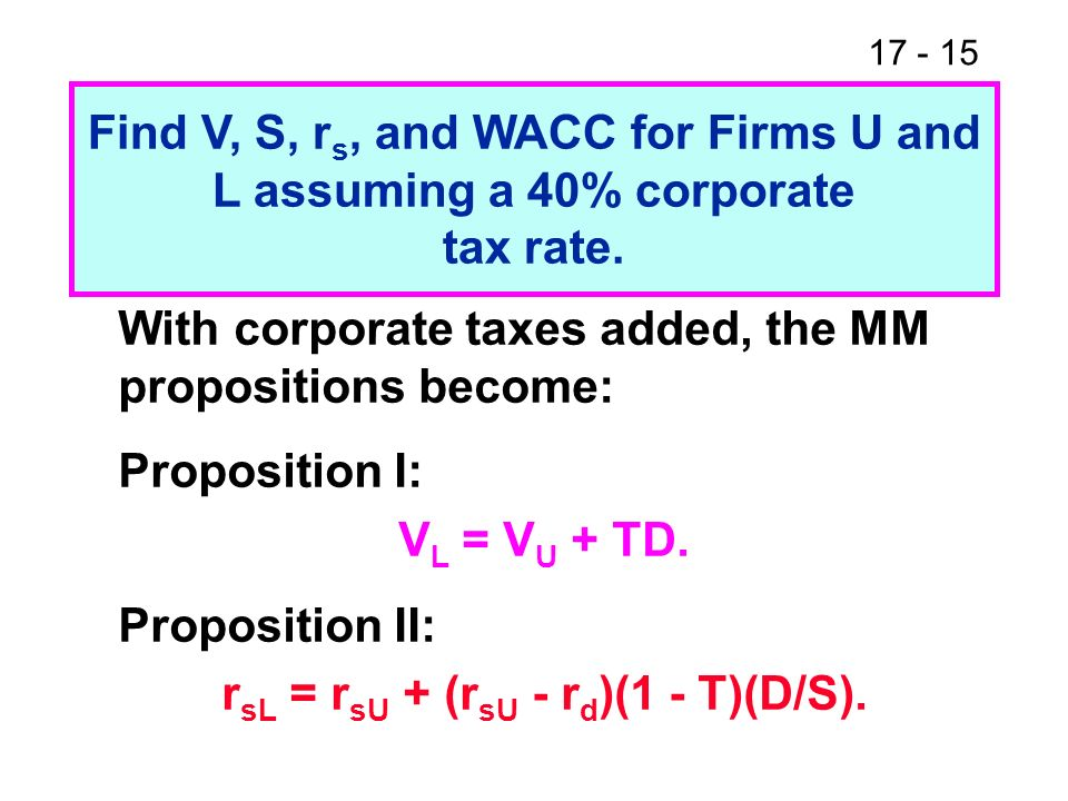 17 - 16 Notes About the New Propositions 1.When corporate taxes are added, V L V U.