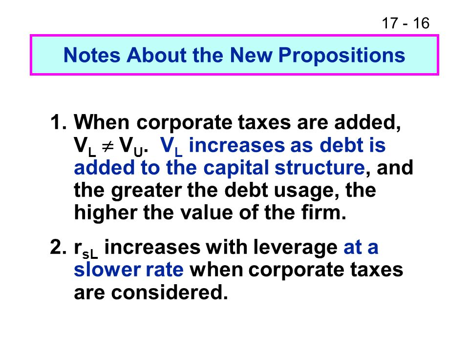 17 - 17 1.Find V U and V L.Note:Represents a 40% decline from the no taxes situation.