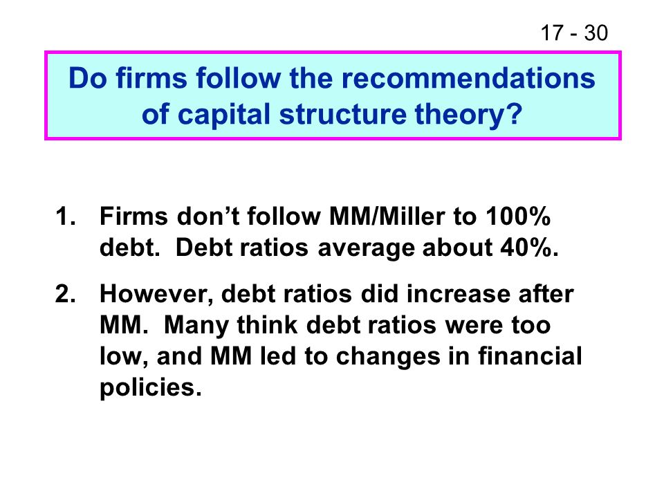 17 - 31 How is all of this analysis different if firms U and L are growing.
