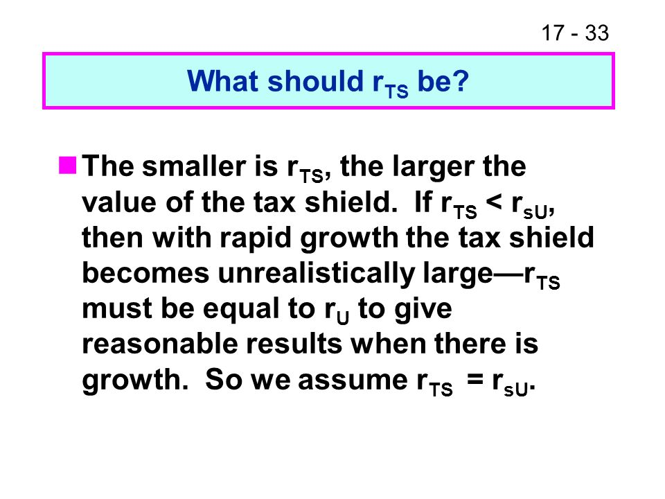 17 - 34 Levered cost of equity In this case, the levered cost of equity is r sL = r sU + (r sU – r d )(D/S) This looks just like MM without taxes even though we allow taxes and allow for growth.