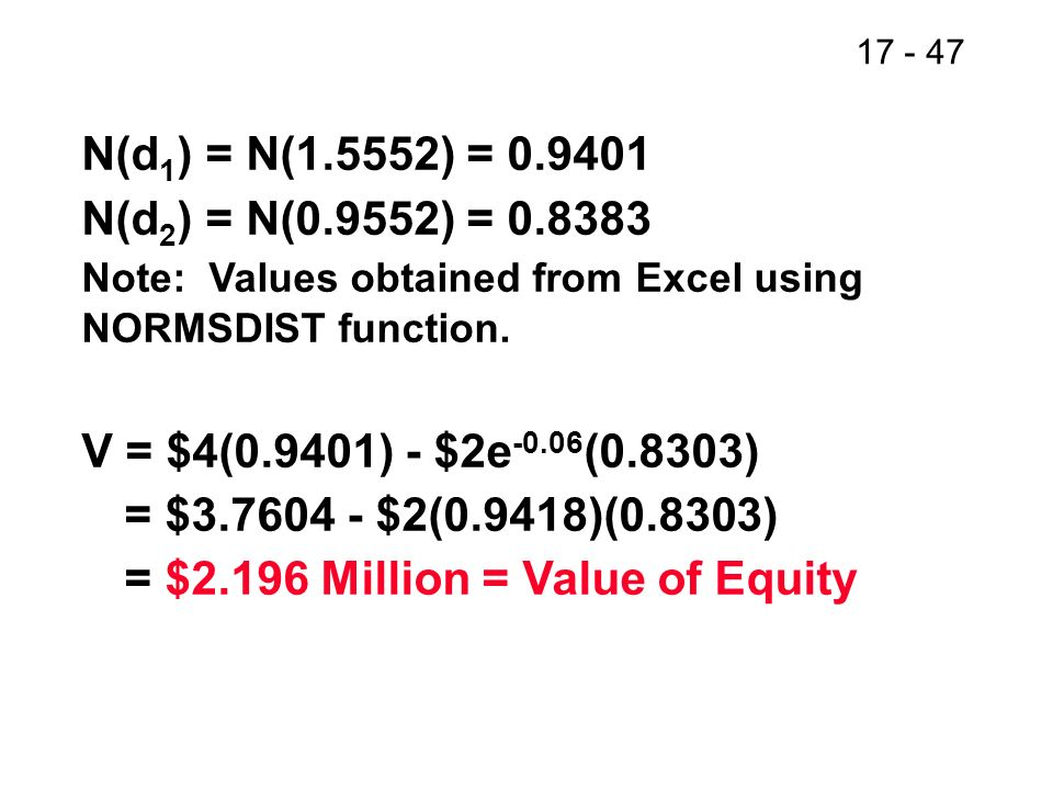 17 - 48 Value of Debt The value of debt must be what is left over: Value of debt = Total Value – Equity = $4 million – 2.196 million = $1.804 million
