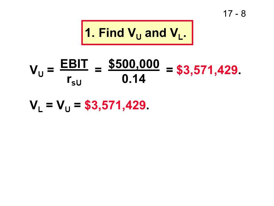 17 - 9 V L = D + S = $3,571,429 $3,571,429 = $1,000,000 + S S = $2,571,429.