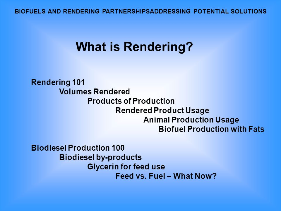 Rendering is Cooking and Drying.Rendering is Recycling.