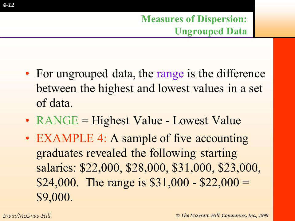 Irwin/McGraw-Hill © The McGraw-Hill Companies, Inc., 1999 Sample Variance For Grouped Data The formula for the sample variance for grouped data used as an estimator of the population variance is: where f is class frequency and X is class midpoint.