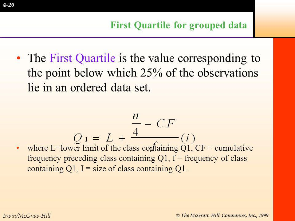 Irwin/McGraw-Hill © The McGraw-Hill Companies, Inc., 1999 Third Quartile for grouped data The Third Quartile is the value corresponding to the point below which 75% of the observations lie in an ordered data set: ·where L = lower limit of the class containing Q3, CF = cumulative frequency preceding class containing Q3, f = frequency of class containing Q3, i= size of class containing Q3.