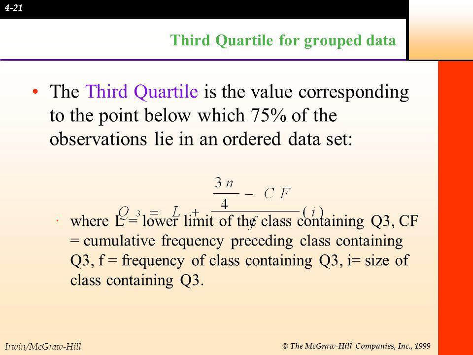 Irwin/McGraw-Hill © The McGraw-Hill Companies, Inc., 1999 Quartile Deviation The Quartile deviation is half the distance between the third quartile, Q 3, and the first quartile, Q 1.