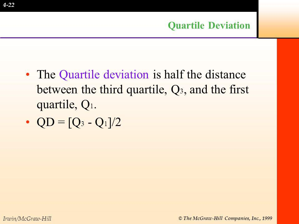 Irwin/McGraw-Hill © The McGraw-Hill Companies, Inc., 1999 EXAMPLE 5 If the third quartile = 24 and the first quartile = 10, what is the quartile deviation.