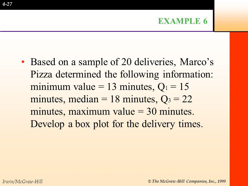Irwin/McGraw-Hill © The McGraw-Hill Companies, Inc., 1999 EXAMPLE 6 continued median min Q 1 Q 3 max 12 14 16 18 20 22 24 26 28 30 32 4-28