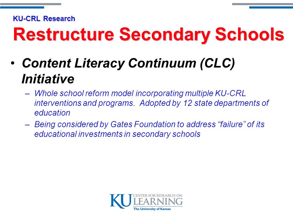 KU-CRL Practice Curriculum Materials & Supports 1500 certified members of International Professional Development Network –Trained over 800,000 teachers and administrators in nearly 4000 school districts 15 web based resources to enhance classroom instruction (ALTEC) –7.3 million pages viewed per month –515,000 registered teachers –Of all 108,810,000 distinct web sites on the web, collectively, ALTECs web sites are in the top.004% of usage 186 curriculum products and implementation supports