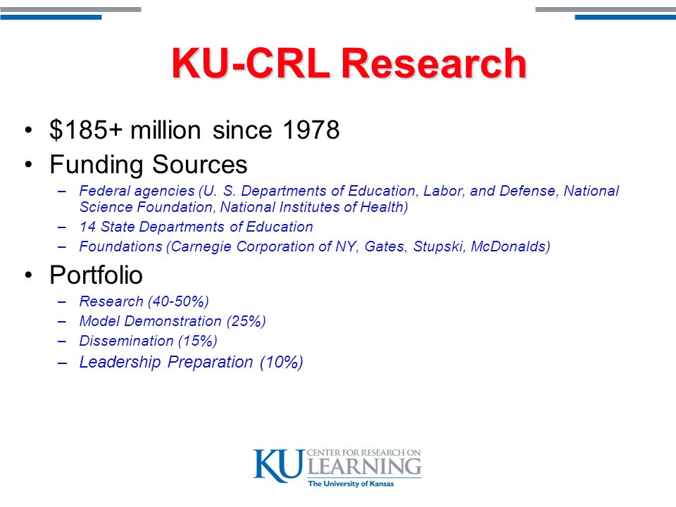 KU-CRL Research Improve Student Learning Learning Strategies Curriculum –Adopted by 3500 schools in North America Fusion Reading –Selected for national reading study for struggling adolescent learners –Newly funded Striving Readers project in Michigan Goal-setting Program –Used in Academic Support Program for KU Athletic Department Strategic Tutoring Program –One of most broadly used evidence based after school tutoring programs in country