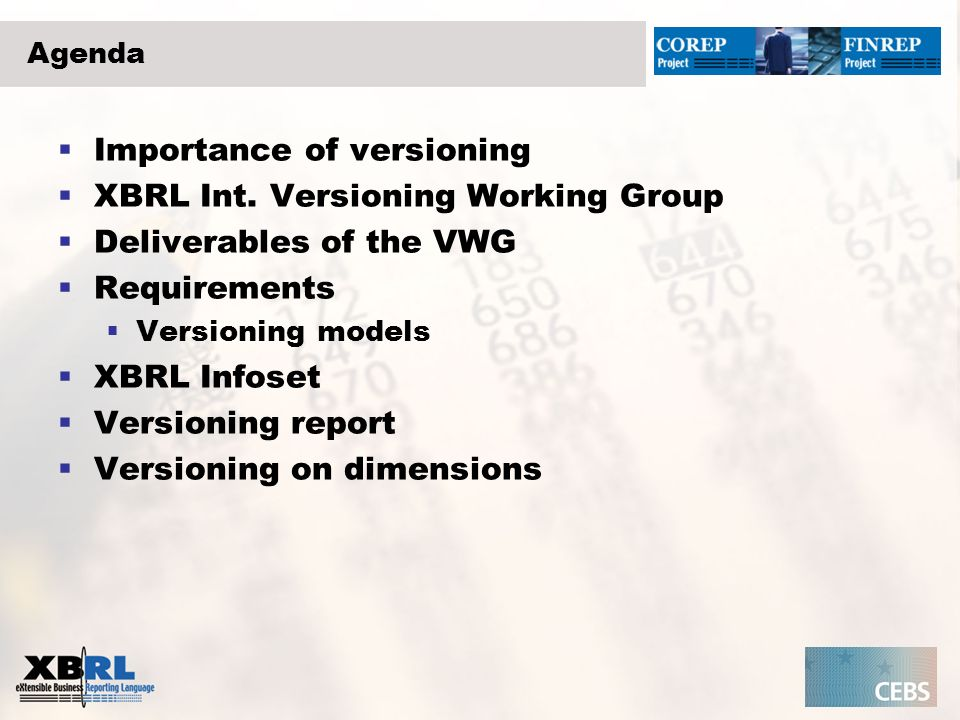 Importance of versioning Errors as well as business changes should be reflected in new editions of the taxonomies.