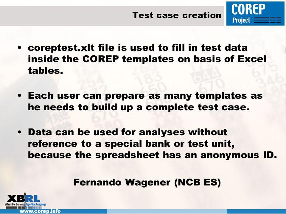 www.corep.info XBRL instance creation: Preparations To enable the transformation of the Excel test file the formats and all additional sheets have to be removed by running a macro.
