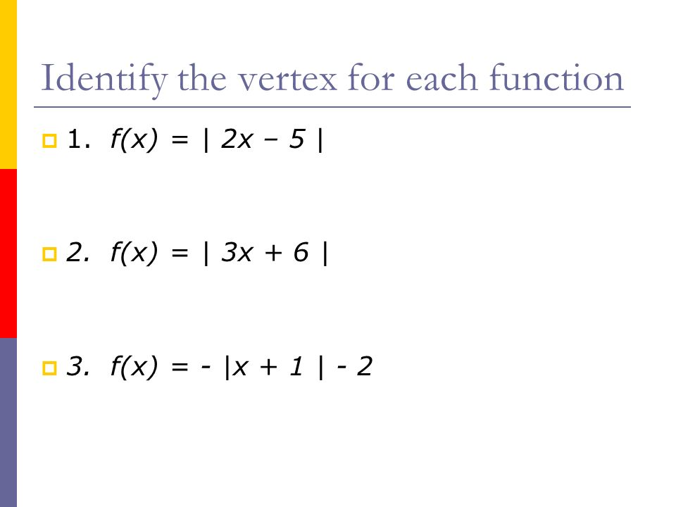 Graphing absolute value functions by making a table Find the vertex Make a table of values (at least 5!) Graph the function.
