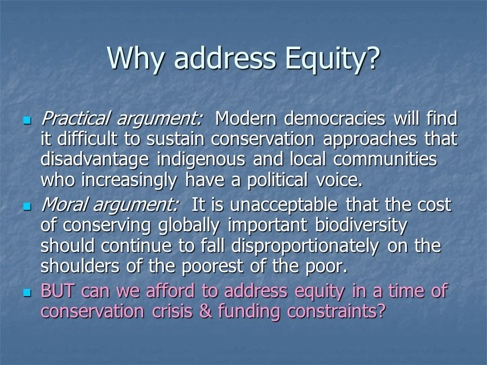 Incentives, Equity and the CBD: Back-sliding on the concept COP1: priorities of the financial mechanism: i) innovative measures, including …economic incentives…., including those which assist developing countries to address situations where opportunity costs are incurred by local communities and to identify … means by which these can be compensated, in accordance with article 11 COP6: any conservation measure has some impact on stakeholders; incentive measures should take into account those who benefit and those who assume the cost of that measure.