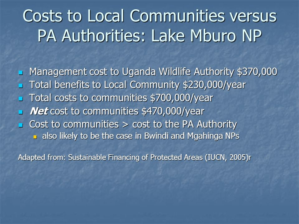 Local Benefits - Uganda Water availability Water availability NTFP availability NTFP availability Employment Employment Tourism-based enterprise Tourism-based enterprise PA-related projects supporting agricultural production and income generation PA-related projects supporting agricultural production and income generation Tourism revenue sharing Tourism revenue sharing Conservation Trust Fund – MBIFCT Conservation Trust Fund – MBIFCT
