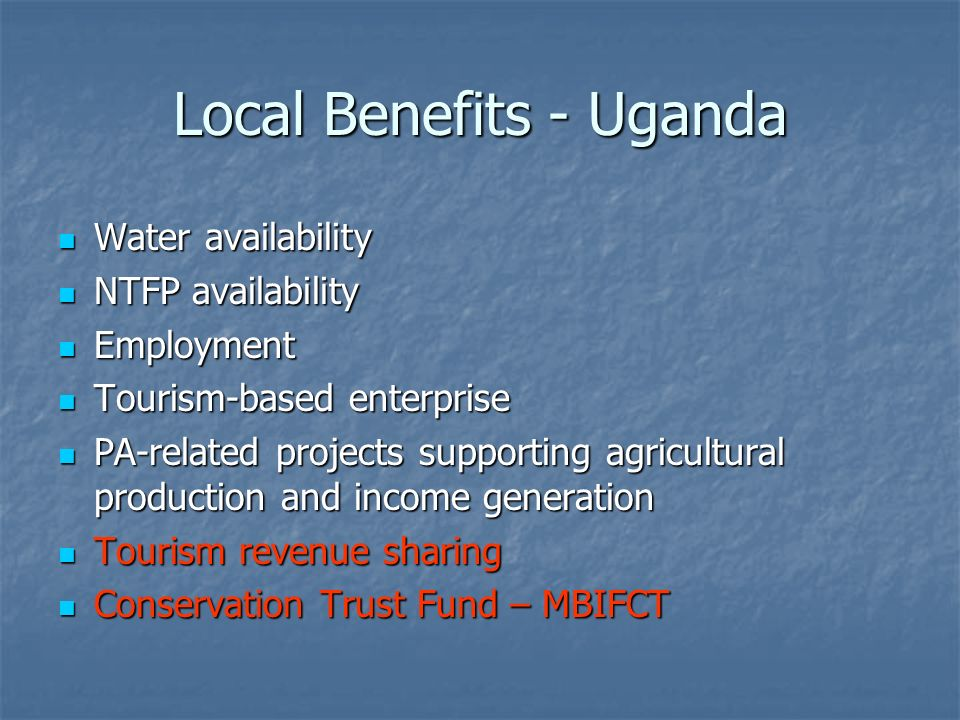 Tourism Revenue Sharing: 1996-2000 Funds derived from tourism revenue Funds derived from tourism revenue Funded 19 community projects up to 5km from PA – schools, health centres, roads Funded 19 community projects up to 5km from PA – schools, health centres, roads Total funds disbursed: $76,000 (average of $4000 per project) Total funds disbursed: $76,000 (average of $4000 per project) Implemented by the PA authority with INGO support Implemented by the PA authority with INGO support