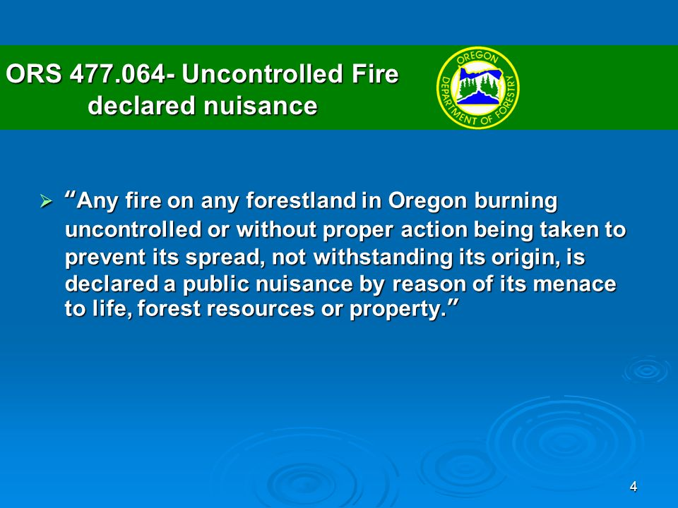 5 ORS 477.066- Duty of owner and operator to abate fire Each owner and operator of forestland on which a fire exists or from which it may have spread, notwithstanding the origin or subsequent spread thereof, shall immediately proceed to control and extinguish such fire when its existence comes to the knowledge of the owner or operator.Each owner and operator of forestland on which a fire exists or from which it may have spread, notwithstanding the origin or subsequent spread thereof, shall immediately proceed to control and extinguish such fire when its existence comes to the knowledge of the owner or operator.
