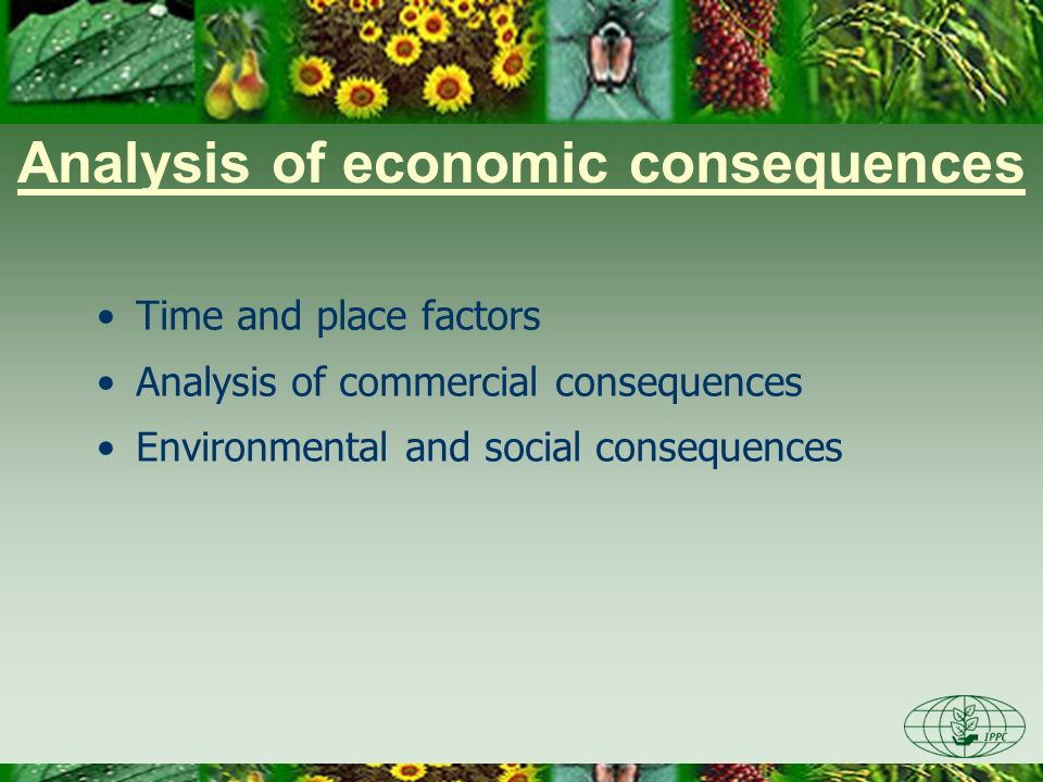 Time and place factors Economic consequences are expressed over a period of time - possible lag between establishment and expression of consequences Consequences can change over time Distribution of pest occurrences The rate and manner of spread May use expert judgment and estimations