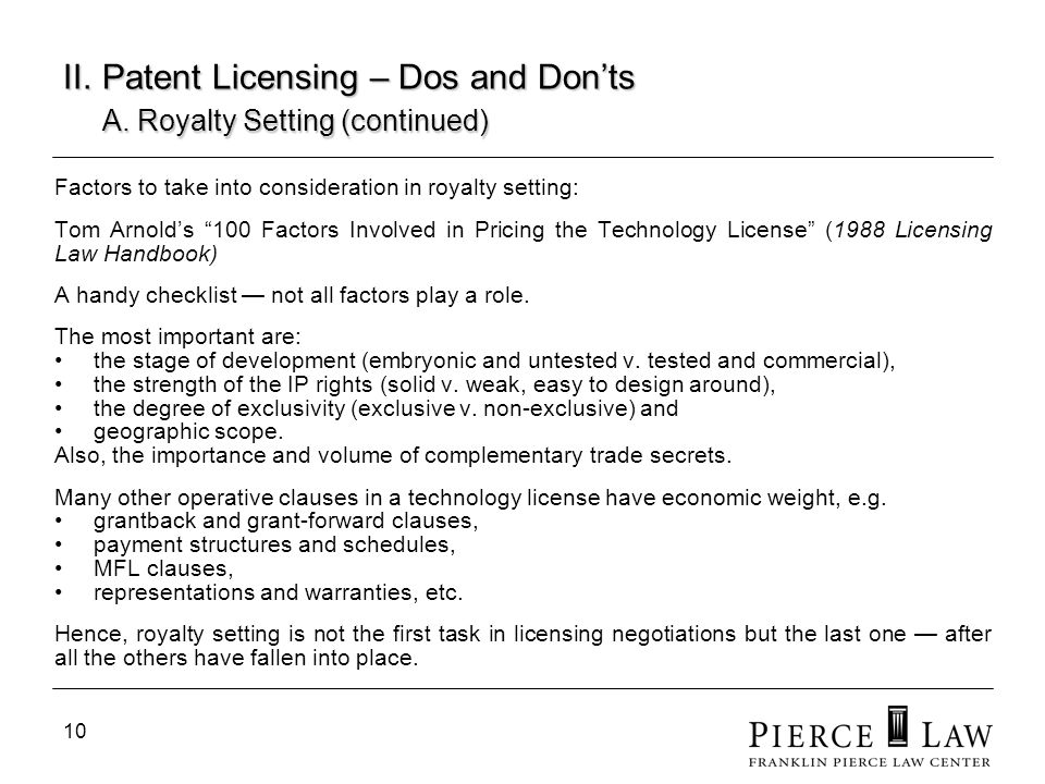 11 II.Patent Licensing – Dos and Donts B.